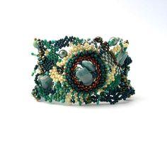 Beadwork bracelet, seed bead bracelet,  green and cream freeform peyote bracelet, beaded jewelry via Etsy
