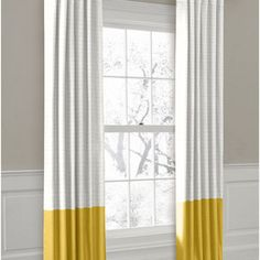 Yellow and white Curtains - would love these for the living room... curtains, rod pocket, window treatment, curtain panel, top draperi, loomdecor, loom window, ring top, loom decor