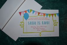 My Baby Girl's Invites from LarsLoveDesign.com    Super cute designs. Very Affordable. Local Business. WONDERFUL owner/designer! 2nd birthday, parti