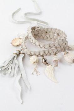 Gypsy Rocker Angel Cuff, white suede, charms, tassels, leather, angel wing