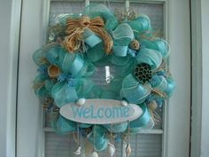 Deco Mesh Shabby Chic Beach Wreath by DecoDzigns on Etsy, $110.00