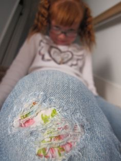 """Adorable way to MEND JEANS with cute fabric and embroidery floss! Kids will LOVE their """"new"""" jeans! The Beating Hearth Blog"""