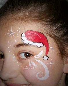 paint idea, christmas facepaint, face paintings, christma face, art, eye design, santa hat, christmas ideas, christmas face painting