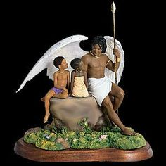 "Under the Shelter of His Wing    Securely nestled under the wing of God's shelter, two children peer into the eyes of a protective angel as they perch atop a rocky ledge. Height: 11""  $ 495.00"