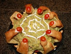 Spooky Guacamole In A Witches Fingers Bread Bowl