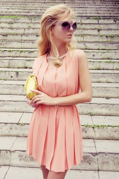 pastel peach pleats