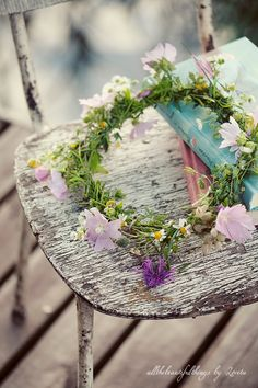 Beautiful flowers on a beautiful old chair