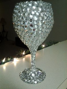 Bedazzled wine glass, $30
