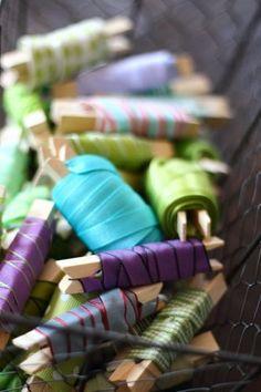 Ribbon Organization: Ribbon ends on clothespins!