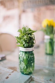 Mint sprig centerpieces at Kentucky Derby inspired bridal shower overflowing with details. #weddingchicks Captured By: Bri Morse Imagery http://www.weddingchicks.com/2014/07/09/a-day-at-the-races-inspired-bridal-s