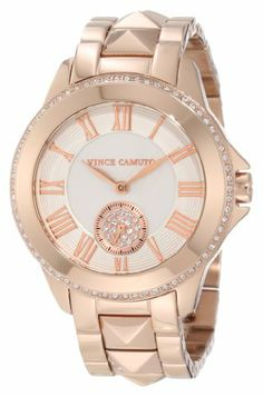 Vince Camuto Women%27s VC%2F5048SVRG Round Swarovski Crystal Accented Rosegold-Tone Bracelet Watch