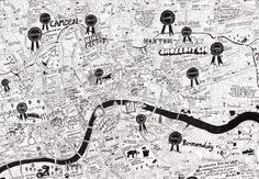Jojo Oldham's hand-drawn map of London