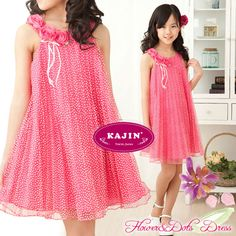 Fuchsia Rose Polka Dots Girls Dress    A fruity vintage mixture of fun and style.    Now at $49. While stock last.     #girls #party #dress #short #blue #beautiful #kids #formal #wear #fashion #clothing #elegant #offer #discount