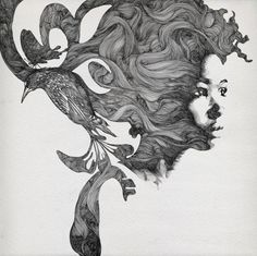 so dope. illustrations, inspir, hand drawn, design blogs, artist, gabrielmoreno, birds, portrait, gabriel moreno