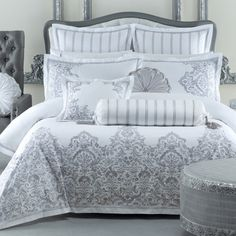 Beautifully embroidered on cotton sateen with a deep and ornate border, our Couture Silver Quilt Cover Set by Classic Collection is a sensationally luxurious look. Finished with an embroidered tailored edge. #pillowtalk #pillowtalkhome #quiltcover #luxurious #couture