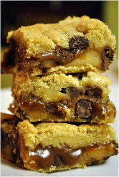 Salted caramel chocolate chip cookie bars...favorite combo of sweet and salty ..mmmm