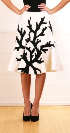 Coral black on white skirt
