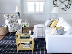 Yellow interiors. Ethan Allen living room. Blue and yellow color palette.