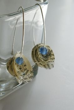 Paper Rose Earrings with Glass Bead
