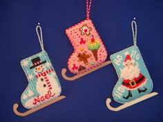 Skate ornaments, how fun ! Finished for Needlepoint.com