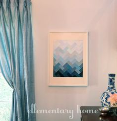 diy ombre herringbone pattern paint chip art from ellementary home