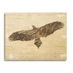 Driftwood eagle art print on wood beach art by bigbearandthewolf