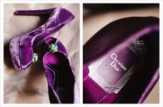 Beautiful purple heels for the bride on her wedding day.