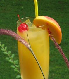 Peach Pirate ~ 2 oz. Captain Morgan's Spiced Rum, 2 oz. Peach Schnapps, 4 oz. Orange Juice, Slice of fresh Peach and/or Cherry for garnish