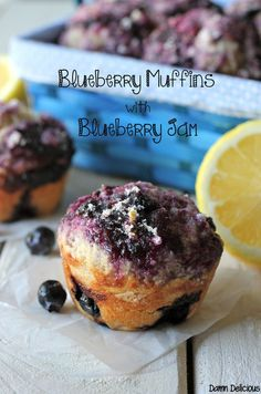 Blueberry Muffins with Blueberry Jam
