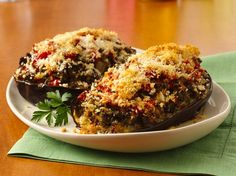 Stuffed Eggplant - Looking for a flavorful dinner using Progresso® bread crumbs? Then try this baked eggplant dish that's stuffed with beef and vegetables.