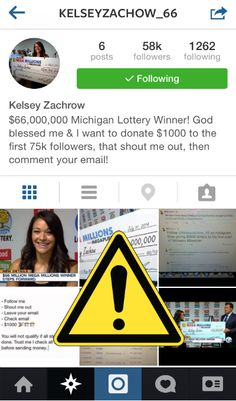 Don't fall for this Instagram #scam! Lottery winner Kelsey Zachrow is NOT giving away $1,000 to new followers.