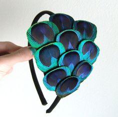 Peacock Feather Hair Accessory Headband Purple Teal by JadeMade82, $32.00