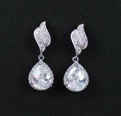Crystal Bridal Earrings, Crystal Teardrop Earrings, Bridal Jewelry, Wedding Jewelry, Bridesmaid Jewelry. $36.00, via Etsy.