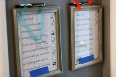 Use an old picture frame as a dry-erase board! Write on/Wipe Off Chore Charts! cleaning schedule for kids, chore board ideas, kids chore charts, chore chart frame, chores charts, chore list, dry erase chore chart, picture frames, chore organizer