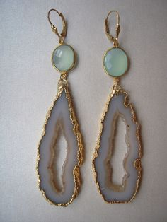 Beautigul Agate Slice Geode, Sea Blue Chalcedony Vermeil Bezel Set & GF Leverback Earrings