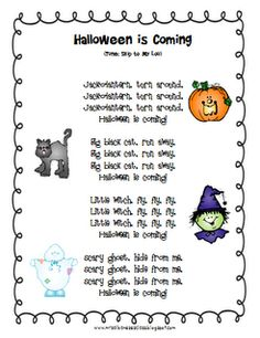"""Song, """"Halloween is Coming"""" (Tune: """"Skip to My Lou"""")"""