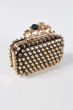 Ooh// studded// alexander mcqueen, stud clutch, clutches, bag, stones, edgy clutch, purses, black, stone stud
