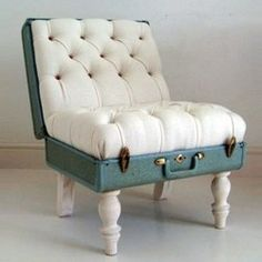 repurposed luggage... LOVE this... only a little less chic legs & cushions