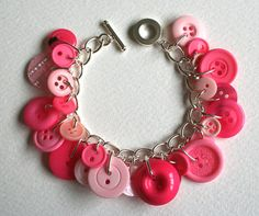 Lollipop pink button bracelet.