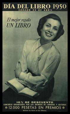 """""""Dia del libro 1950 : sábado 22 de abril : El mejor regalo un libro"""" Courtesy of the Biblioteca de Catalunya"""