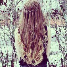 Waterfall braid long curly hair