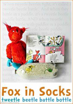 Dr. Seuss fox in socks tweedle beetle battle bottle game