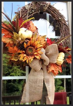 craft, fall decor, sunflowers, front doors, burlap bows, fall wreaths, dri sunflow, autumn wreaths, white pumpkins