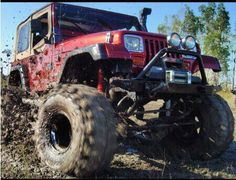 Muddy Jeep YJ with winch, snorkel, KC lights... yes, please!
