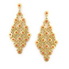 Gold + Coral Dangles