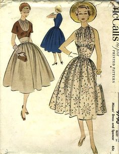 Voluminous skirts and captivating necklines call the frocks in this wonderful 1950s McCall's pattern (9790) home. #vintage #sewing #pattern #dress #1950s #fifties