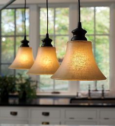 Screw-In Textured Linen Glass Shade Pendant Lighting - Transform ho-hum recessed lights into gorgeous, eye-catching pendant lighting with no wiring