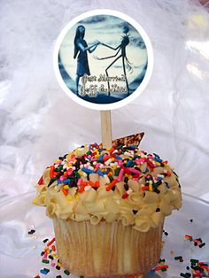 World of Pinatas - Nightmare Before Christmas Personalized Cupcake Toppers Set of 6, $5.99 (http://www.worldofpinatas.com/nightmare-before-christmas-personalized-cupcake-toppers-set-of-6/)