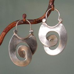sterling silver Curl Earrings  hoop style by BobsWhiskers on Etsy, $52.00