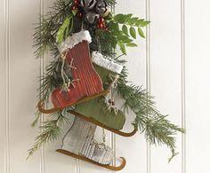 skate decor, ice skate, craft, christma decor, door decor, christma idea, skate christma, skate ornament, christmas door